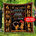 Personalized to My Sister Quilt Pattern Blanket King Queen Twin Size Quilted Customized Christmas Birthday Anniversary Wedding Custom Bridal Sisterhood Gifts for Little Big Older Younger Sisters Kids