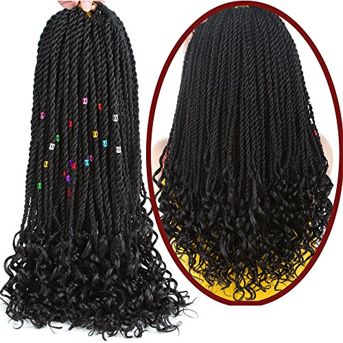 Senegalese Twist Crochet Hair Wave Curly Synthetic Braiding Braids Hair High Temperature Kanekalon Ombre Hair Extensions 6Packs 30Strands/Pack (18, 1B#)