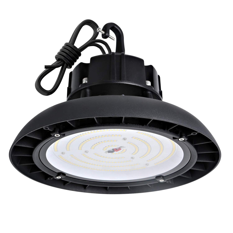 Hykolity 100W UFO LED High Bay Light Fixture, 13000lm 1-10V dimmable 5000K DLC Premium [250w MH/HPS Equivalent] Motion Sensor Optional, Indoor Commercial Warehouse/Workshop/Wet Location Area Light