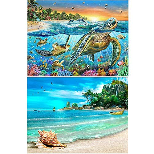 2 Pack 5D DIY Diamond Painting Full Drill Paint with Diamonds for Home Wall Decor by Number Kits, Sea Turtle and Beach & Conch (12X16inch)