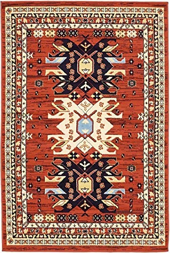 Unique Loom Taftan Collection Geometric Tribal Terracotta Area Rug 4 0 x 6 0