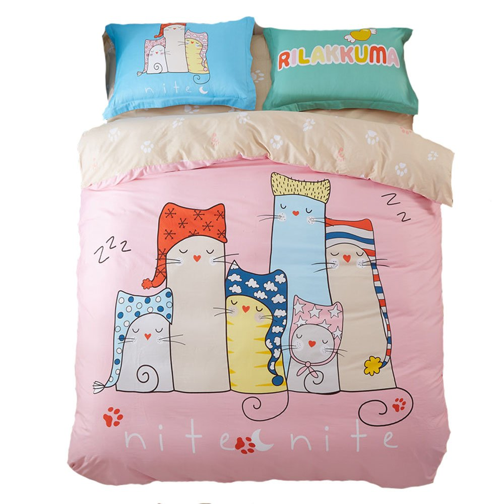 Mumgo Home Textile Bedding for Adult Kids Pink Lovely Cat Family Pattern Duvet Cover Set 100% Cotton,Not Include Any Comforter or Filler (Full/Queen Size - 4 Piece) by Mumgo