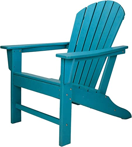 Leisure Classics UV Protected HDPE Indoor Outdoor Adirondack Lounge Patio Porch Deck Chair, Turquoise