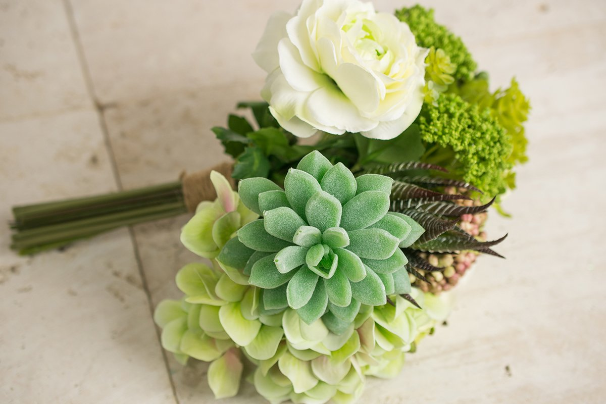 Faux-Hydrangea-Rose-Succulent-Bouquet-in-Green-and-White-12-Inch-Tall