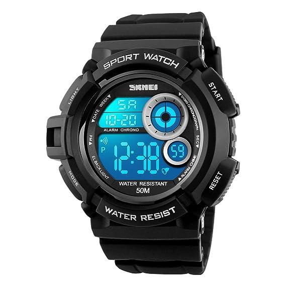 TONSHEN Moda Relojes de Hombre Deportivos Digitales Varios Colores LED Luz Electrónica 5ATM Resistente al Agua