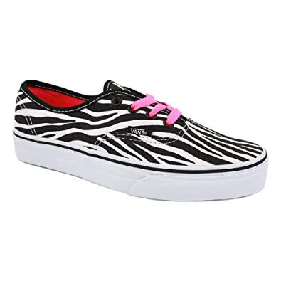 aa9cd26db7e2 Vans Zebra Authentic QER75A Womens Laced Canvas Trainers Zebra - 9   Amazon.co.uk  Shoes   Bags