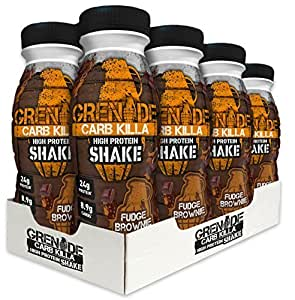Grenade Carb Killa High Protein Shake, Fudge Brownie, Pack of 8
