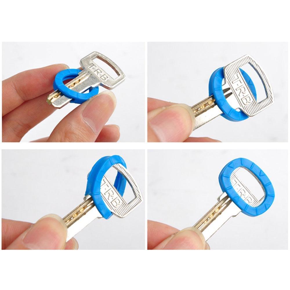 etiquetas reutilizables 8 colores surtidos tapas de silicona para llaves protector de llaves llavero flexible mangas Aolvo piel para llaves redondas cuadradas y m/ás llaves de casa tapas de llaves Llavero de 32 piezas