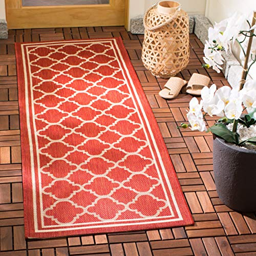 Safavieh Courtyard Collection CY6918-248 Red and Bone Indoor/ Outdoor Runner (2'3