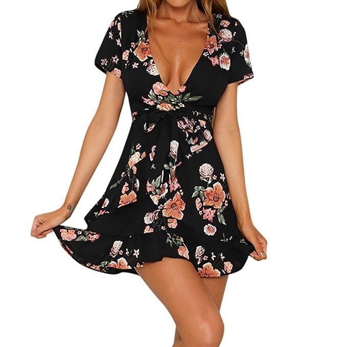Longra V Ausschnitt Kleid Damen Bohemian Kleid Kurzarm Unregelmäßige Sommerkleider  Strandkleider Schwarz Blumendruck Kleid Schöne Kleider fecc69038f