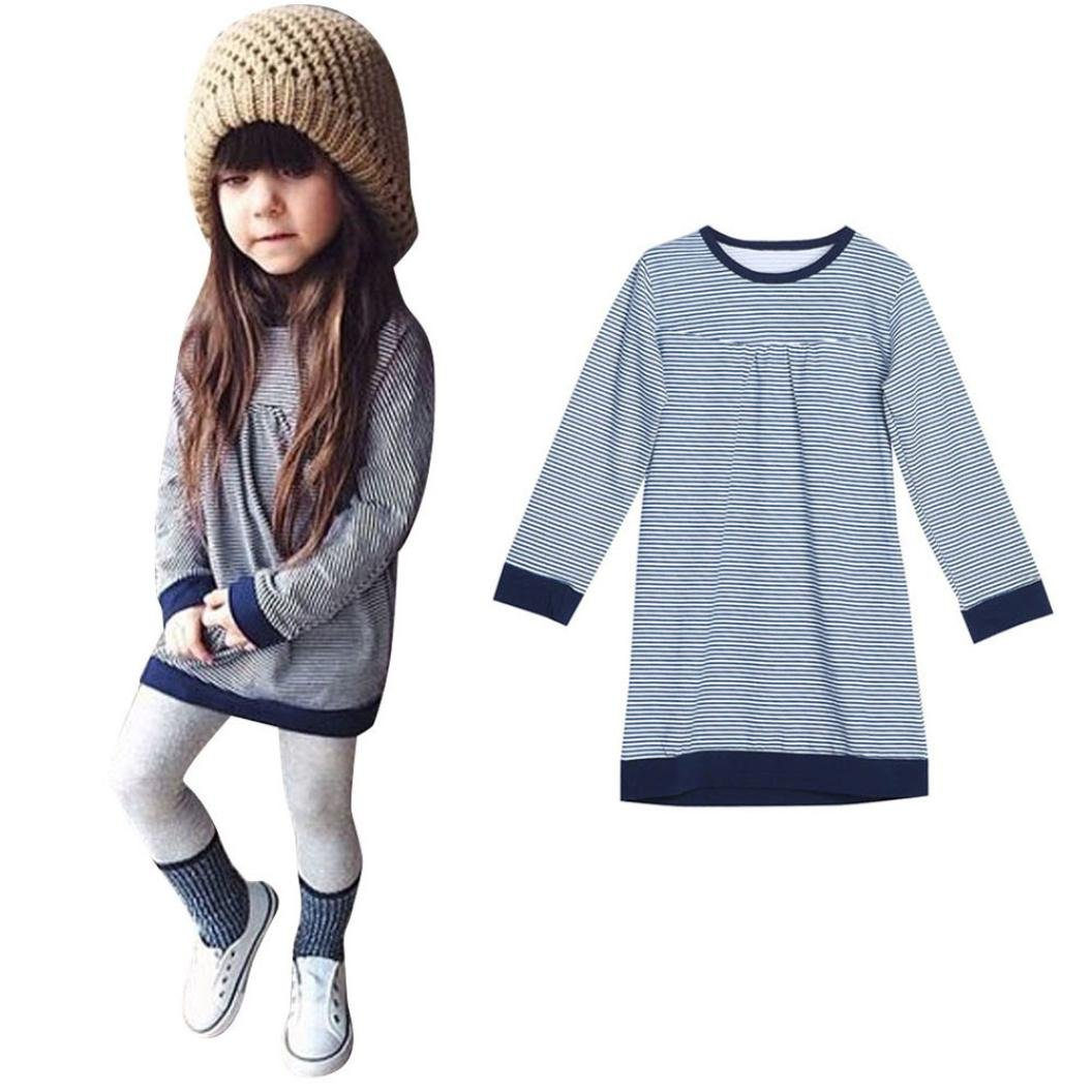 Amiley baby girl clothing Set Autumn Clothes Long Sleeve Stripe Tops T-Shirt Dress