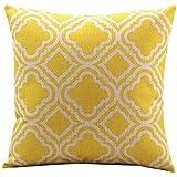 """Nunubee federa Home Decor cuscino quadrato in cotone caso divano cuscino, Cotone lino, Yellow, 45cm*45cm/17.55""""*17.55"""""""