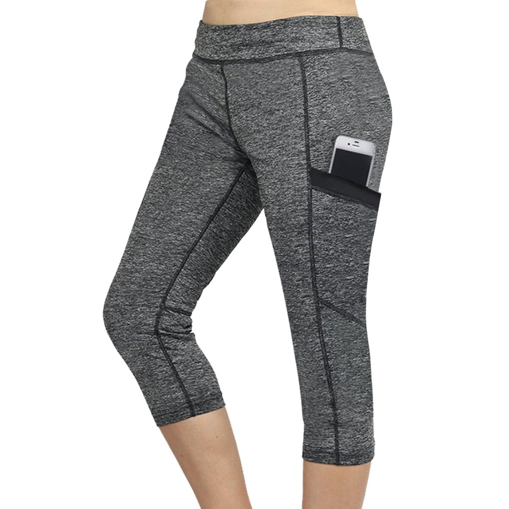 Topfire High Waist Yoga Pants Out Pocket Tummy Control Shapewear Workout Running Stretch Yoga Leggings, Heather Gray ,Medium