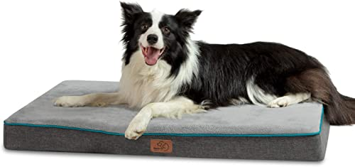 Bedsure Memory Foam Dog Bed for Small, Medium, Large Dogs Cats – Orthopedic Dog Crate Mats Suitable for 28 inches 36 inches 42 inches Crates – Nonskid Bottom – Grey