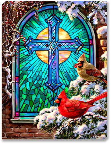 "Night Glass Light Cardinals (Glow Decor – 18"" x 24"" – Christmas – LED Backlit Prints with Remote – All Batteries Included. (Cardinals Stained Glass))"