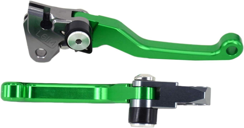 CNC Billet Pivot Foldable Brake Clutch Levers for Kawasaki KLX450R 2008-2015 with Handlebar Grips Air Vent Tube