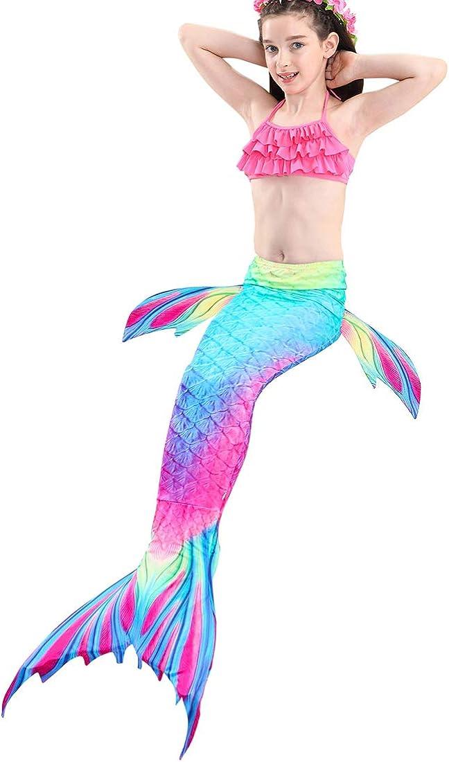 Lurwsuit Girls 4 Pcs Swimsuits Mermaid Tails For Swimming Costume Bikini Bathing Suit Set For Toddler
