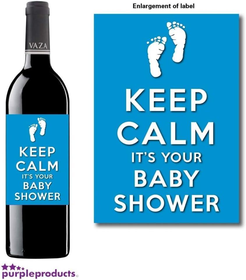 Personalised Keep Calm Blue Baby Boy Shower Wine Non alcoholic bottle label Celebration Gift