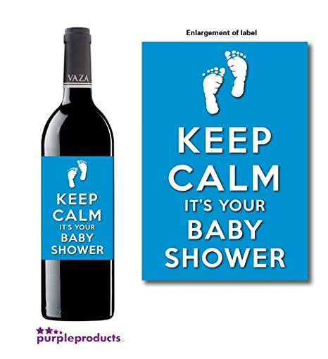 Personalised Keep Calm Blue Baby Boy Shower Wine Non Alcoholic