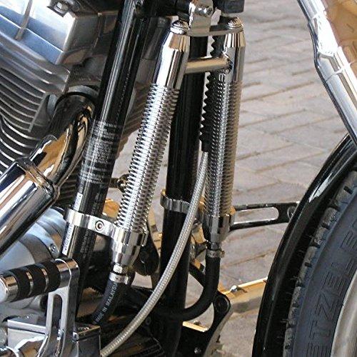 Finned Billet Oil V-Cooler for MOST Harley Models WITH DOWNTUBE MOUNTS Clamps - Fits 1-1/8'' OD Downtubes - Chrome Finish - Motorcycle Custom Chopper Bobber by Billet Proof Designs (Image #1)