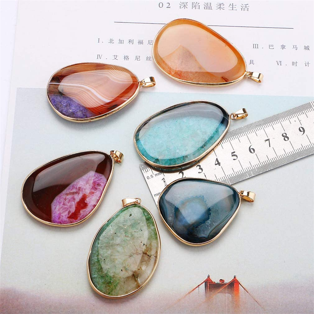 Natural Gemstone Pendant Necklace Stone Power Crystal Statement Pendentif Jewelry Band Women Long Necklace Water Pendant Blue