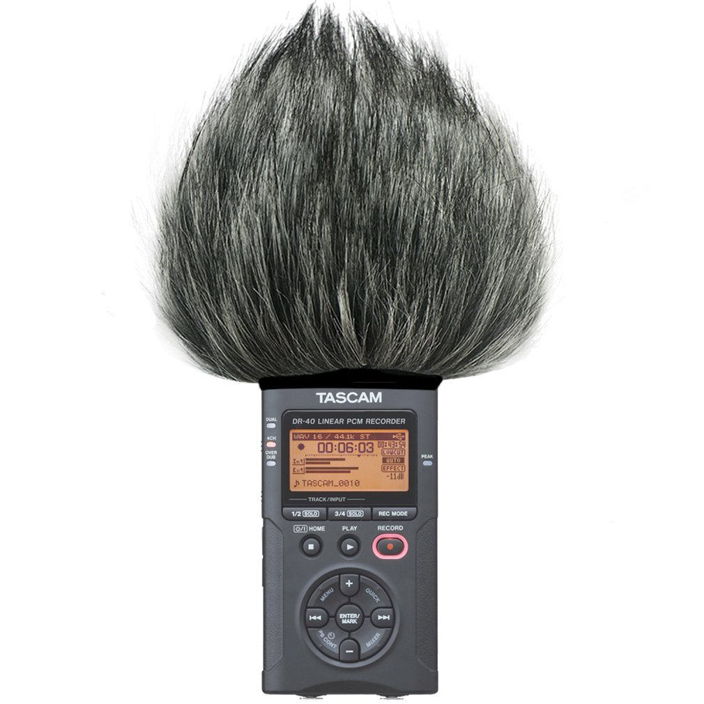 First2savvv TM-DR-40-B01 Outdoor Portable Digital Recorders Furry Microphone Mic Windscreen Wind Muff for Tascam DR-40. DR40