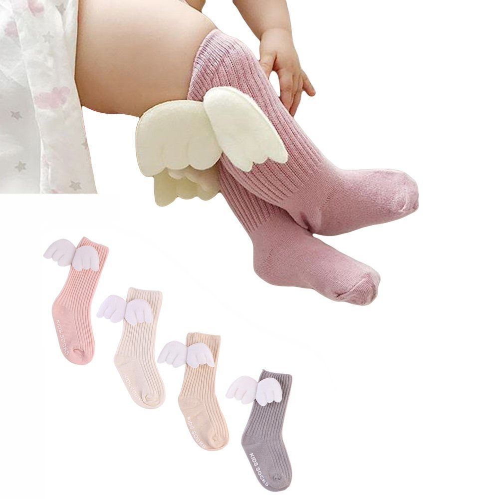 4 Pairs Baby Knee High Socks for Girls Boys Newborn Stockings Cotton Toddler Angel Wings New 2018 (S)