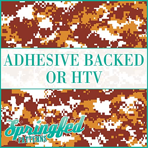 Digital CAMO Pattern in MAROON, GOLD & WHITE Urban Camouflage Heat Transfer or Adhesive Vinyl CHOOSE YOUR SIZE!