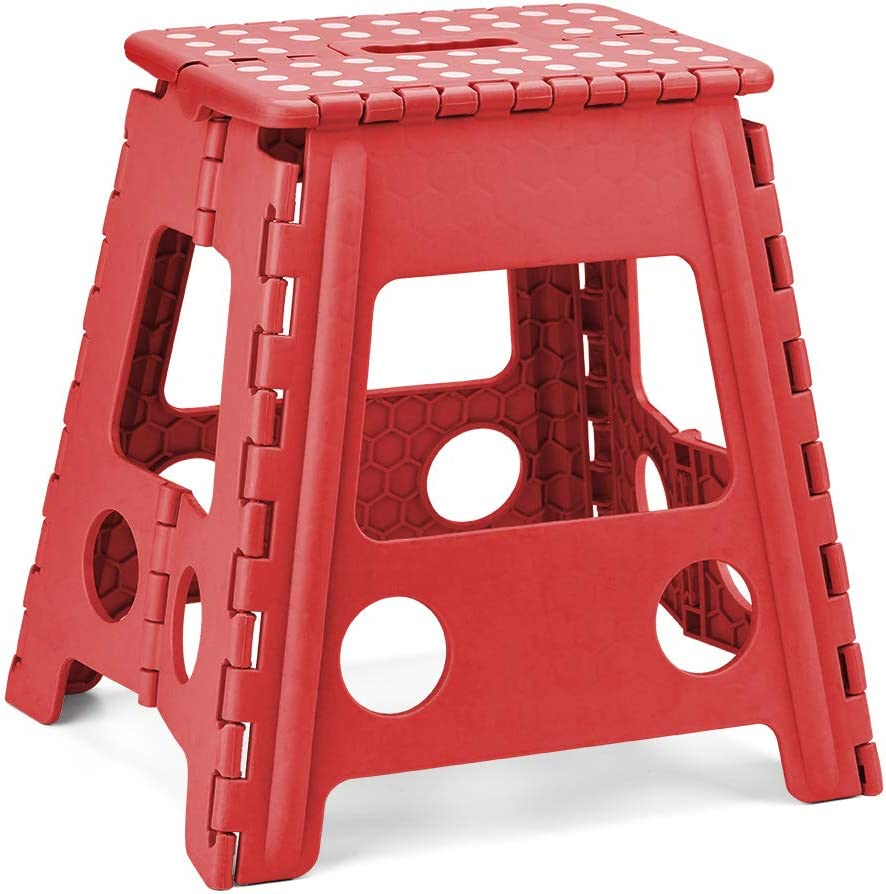 Acko Step Stool 16 Inches Super Strong Folding Step Stool for Adults and Kids,Kitchen Stepping Stools, Garden Step Stool Red