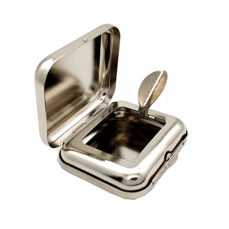Cenicero Rectangular port/átil de Metal con Llavero para Exteriores Viajar Bandeja de Cenizas de Bolsillo para facilitar el Transporte Plateado Mini Silver Coche NormCorer