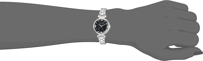 BCBGMAXAZRIA Women's Japanese-Quartz Stainless Steel Case Geniune Leather/Stainless Steel Strap Casual Watch (Model: BG5068200 Silver Black