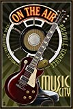 Nashville, Tennesseee - Guitar and Microphone 40444 (16x24 SIGNED Print Master Art Print - Wall Decor Poster)