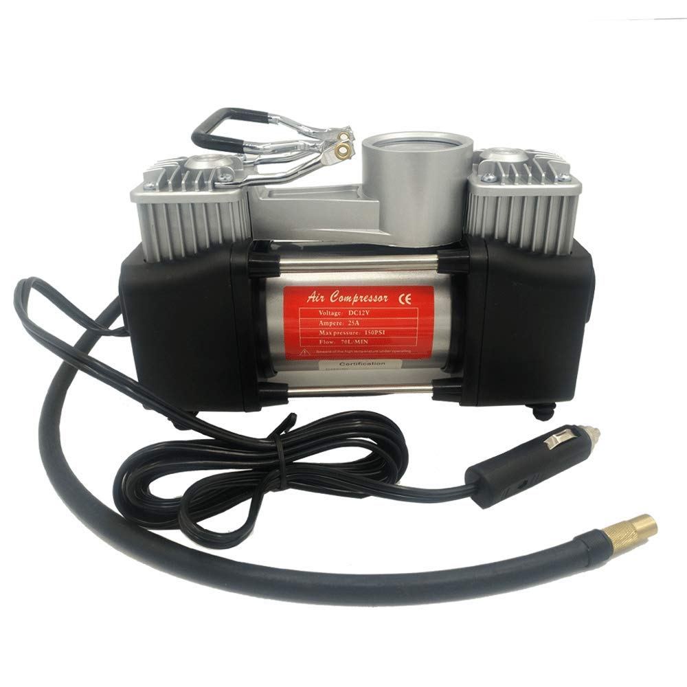 APSFY Air Compressor Pump 2Cylinder Heacy Duty 12V 25A 70L//min 150PSI with Adapter Portable Bag Sliver fit Car SUV Tires Trunk Air Bed Dinghly etc