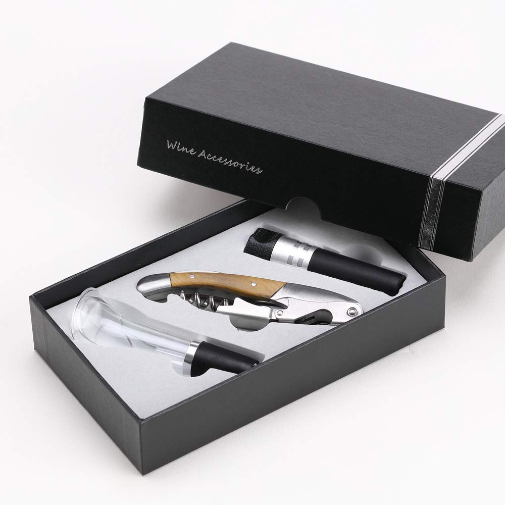 FUNTREND Corkscrew Wine Opener Set With Exquisite Gift Box,3 in 1 Combination Includes Multifunction Bottle Opener,Stopper,Wine Aerator Pourer,Best Gift Set for Man and Women