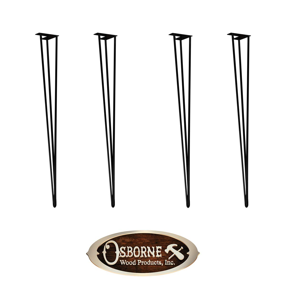 Set of 4 Black Steel Metal Hairpin Legs - Dining Table Height (29'' x 4'') - Hardware Included - Industrial Heavy Duty