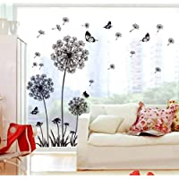 ufengke Black Dandelions and Butterflies Flying in The Wind Wall Decals, Living Room Bedroom Removable Wall Stickers…