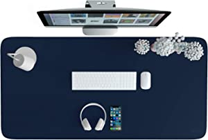 """AFRITEE Dual-Sided Desk Pad - PU Leather Desk Mat Protector Large Mouse Pad Waterproof Desk Blotter Office Home Table Decor Writing Mat Soft Smooth(Navy Blue/Yellow, 31.5"""" x 15.7"""")"""