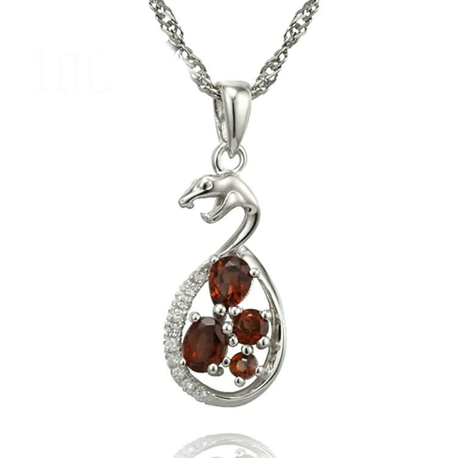 Aokarry Womens 925 Silver Sterling Pendant Necklace Snake Red