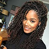 VRUnique Spring Twist 8 Inch TB27# 3 Packs Ombre Spring Twist Crochet Hair Wavy Braids Soft Synthetic Jamaican Bounce Twist Braiding Crochet Hair Extensions High Temperature 30 Roots/Pack