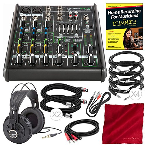 (Mackie PROFX4V2 4-Channel Compact Mixer with Built-in Effects and Premium Bundle with Professional Headphones, Home Recording for Dummies, Fibertique Cloth, and 8X Cables)
