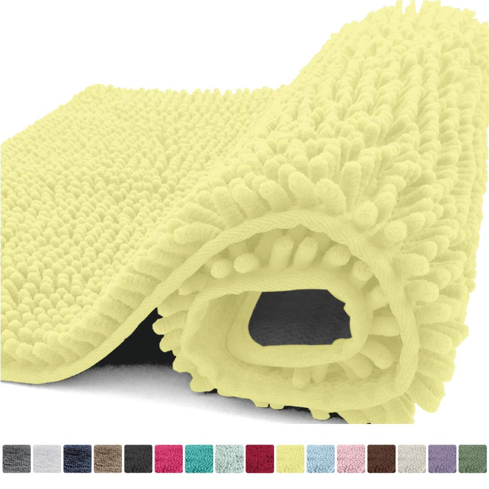 Kangaroo Plush Luxury Chenille Bath Rug, 24x17, Extra Soft and Absorbent Shaggy Bathroom Mat Rugs, Washable, Strong Underside, Plush Carpet Mats for Kids Tub, Shower and Bath Room, Yellow by Kangaroo
