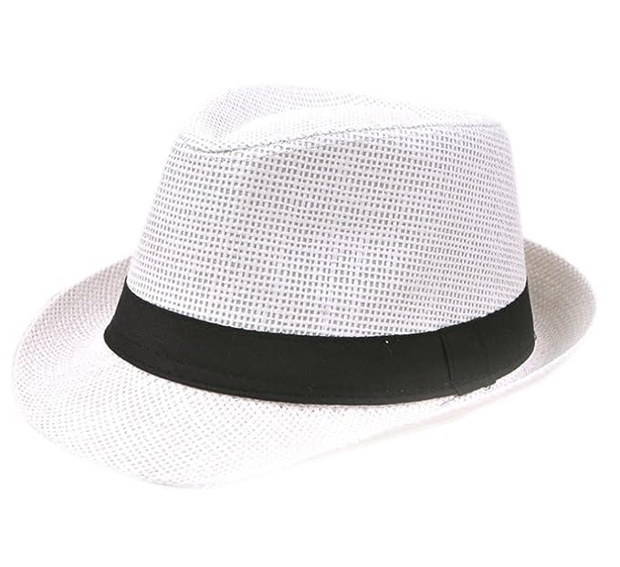 Leisial Cappello di Paglia a Due Colori Cappello da Uomo e da Donna Cappello  Jazz Cappello c10c06484a0a