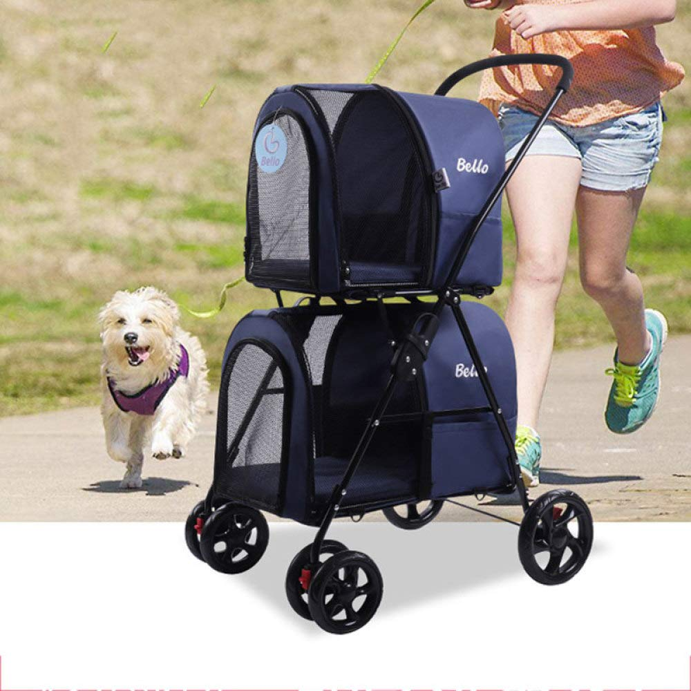 Light Foldable Double Pet Stroller Dog Big Space Cart Detachable Pet Travel Carrier