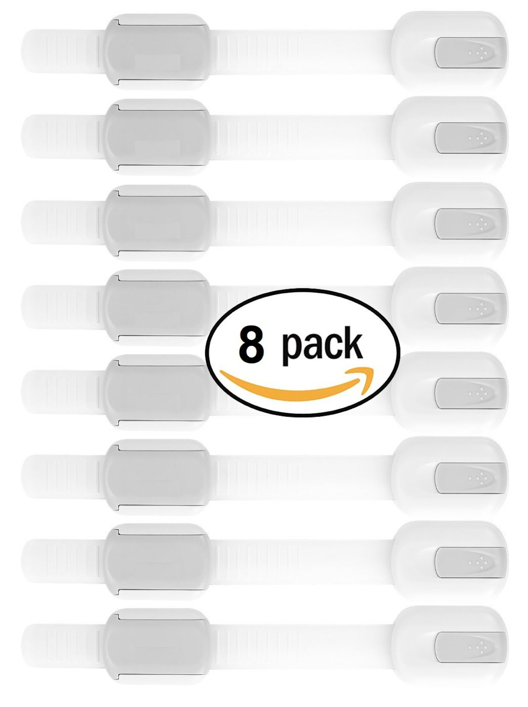 Akeekah 8 Pack Child Safety Cupboard Locks | Baby Proof Cabinets, Drawers, Appliances, Toilet Seat, Fridge and Oven | Tools Not Required | Uses 3M Adhesive with Adjustable Strap & Latch System
