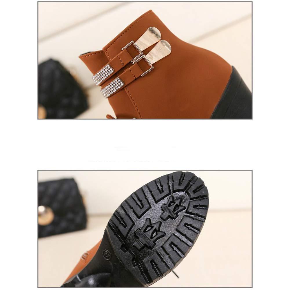 Qiusa Herbst und Winter Martin-Stiefel-weiblicher britischer Wind dick dick dick mit Samt-Aufladungs-Kindern Winter-hochhackige runde Kopf-Aufladungs-Baumwollschuhe (Farbe   Braun Größe   38) c02179