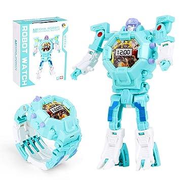 Mmhdz Juguetes para niños Robots, Reloj Digital para niños 2 en 1 Reloj de Pulsera eléctrico, Reloj Robot para Regalo Escolar (Azul + Rojo): Amazon.es: ...