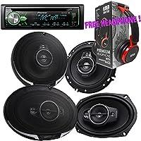 Package - Pair of Kenwood KFC- 6995PS 6x9 650W 5-way + Pair of Kenwood KFC-1695PS 320W 6-1/2 3-way Car Speakers + Pioneer DEH-X4900BT Single-DIN Bluetooth CD Receiver + Free EBH700 Headphone