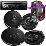 Package - Pair of Kenwood KFC- 6995PS 6''x9'' 650W 5-way + Pair of Kenwood KFC-1695PS 320W 6-1/2'' 3-way Car Speakers + Pioneer DEH-X4900BT Single-DIN Bluetooth CD Receiver + Free EBH700 Headphone