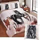 Wild HORSES Running Western Theme Comforter Set + TOSS PILLOW (5pc QUEEN Size)