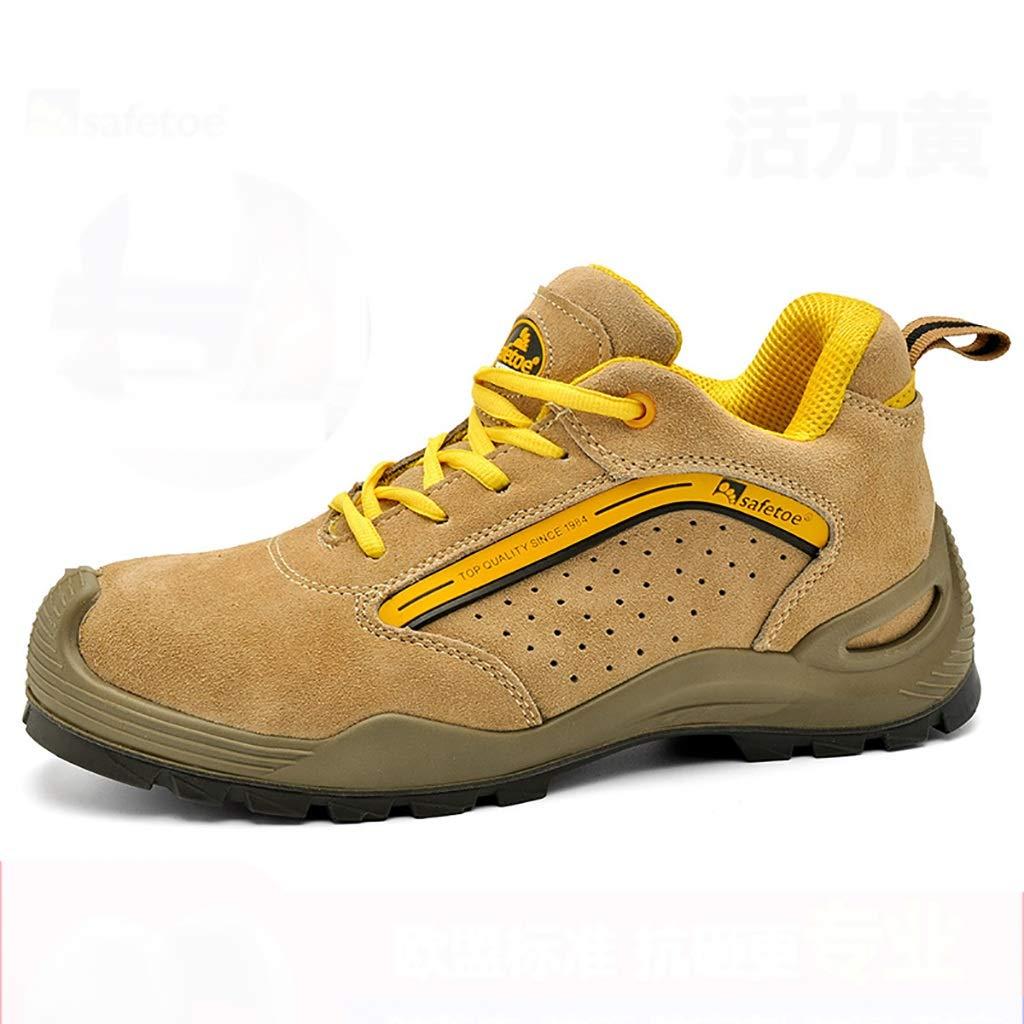 A Bottes de travail Chaussures de travail, chaussures de travail légères, confortables, pour hommes et femmes, chaussures de travail, chaussures de sécurité en acier à bout renforcé en cuir + chaussures 40 EU